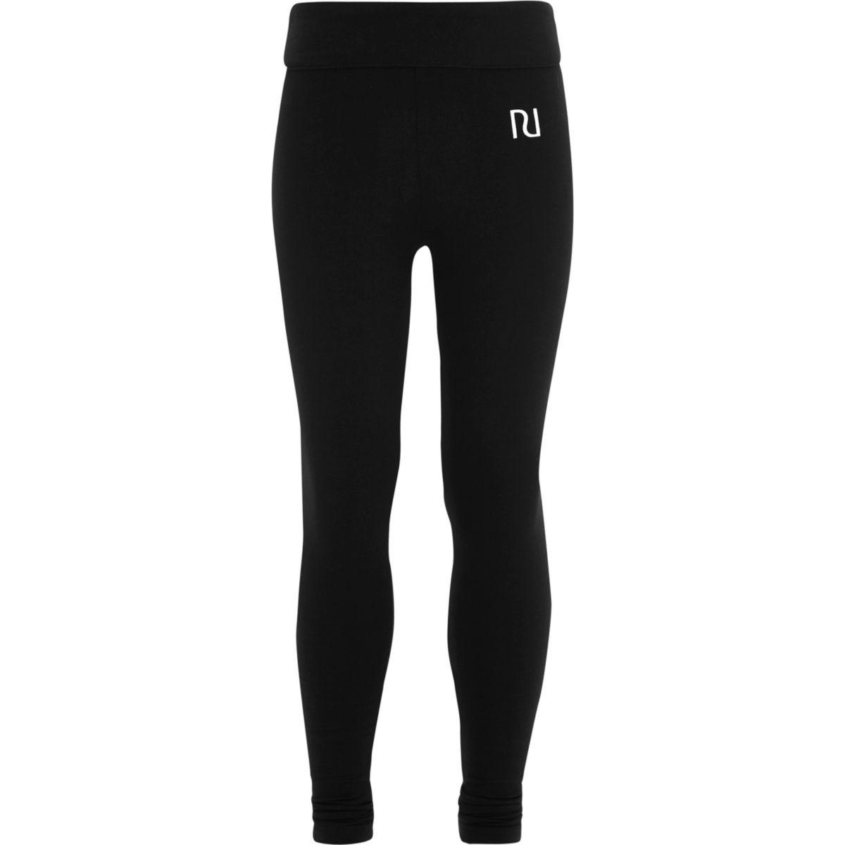 Girls black folded RI waistband leggings