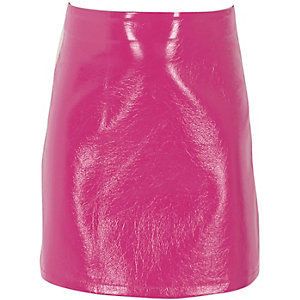 Girls pink vinyl A line skirt