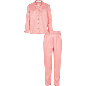 Girls pink polka dot satin pajama set