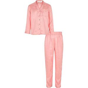 Roze satijnen pyjamaset met stippen voor meisjes