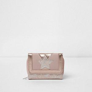 Girls pink star metallic trifold purse