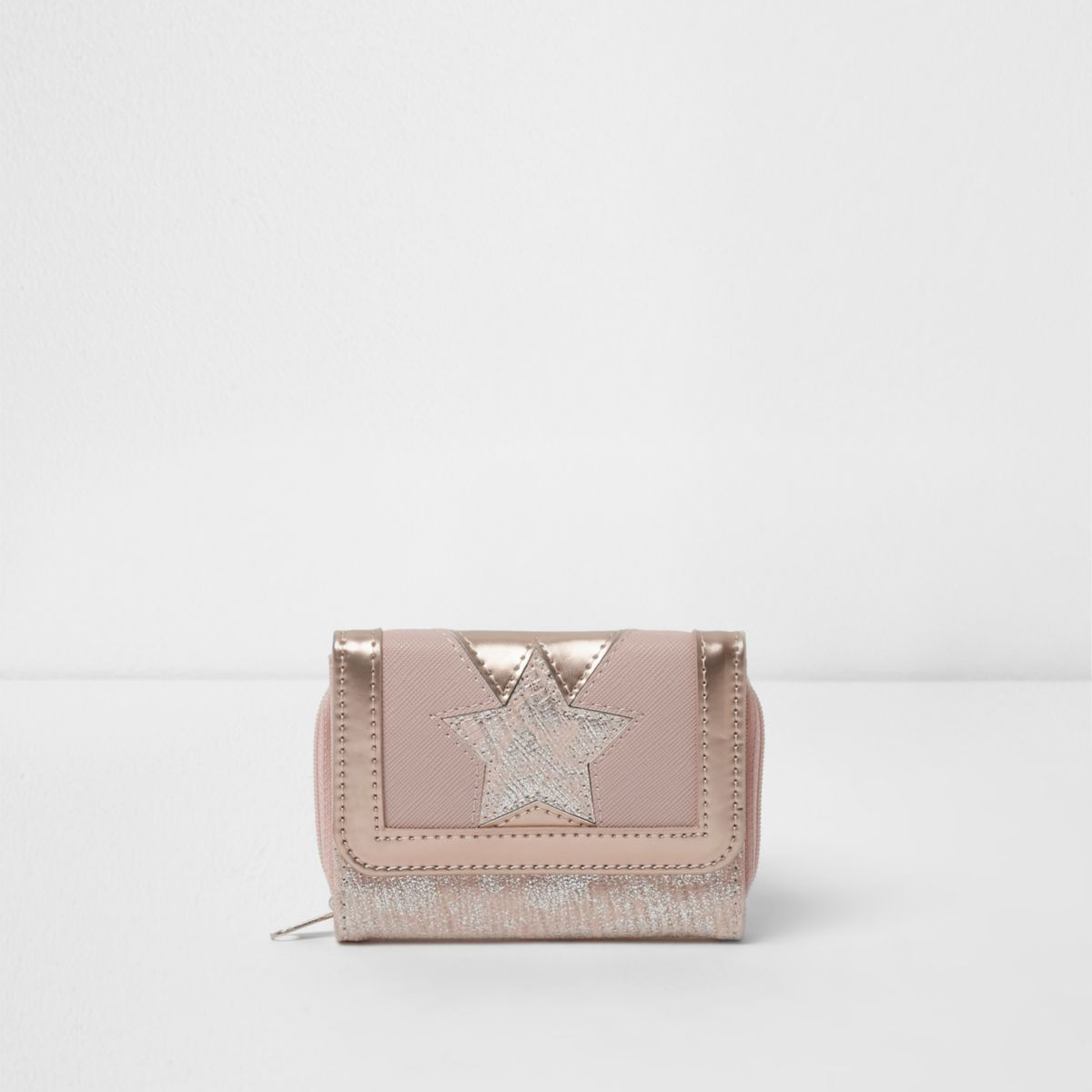 Girls pink star metallic trifold purse