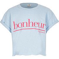 Girls blue 'bonheur' cropped T-shirt