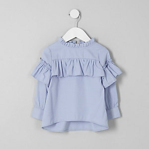 Mini girls blue frill chambray top