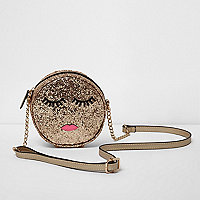 Girls gold glitter round face crossbody bag