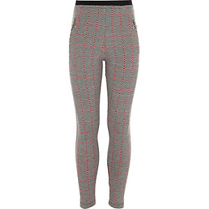 Girls grey check zip leggings