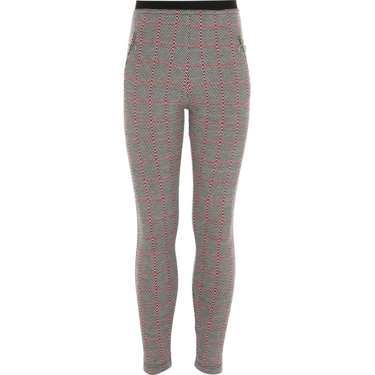 Girls grey check zip leggings