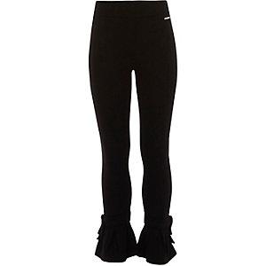 Zwarte legging met uitlopende zoom en strik voor meisjes