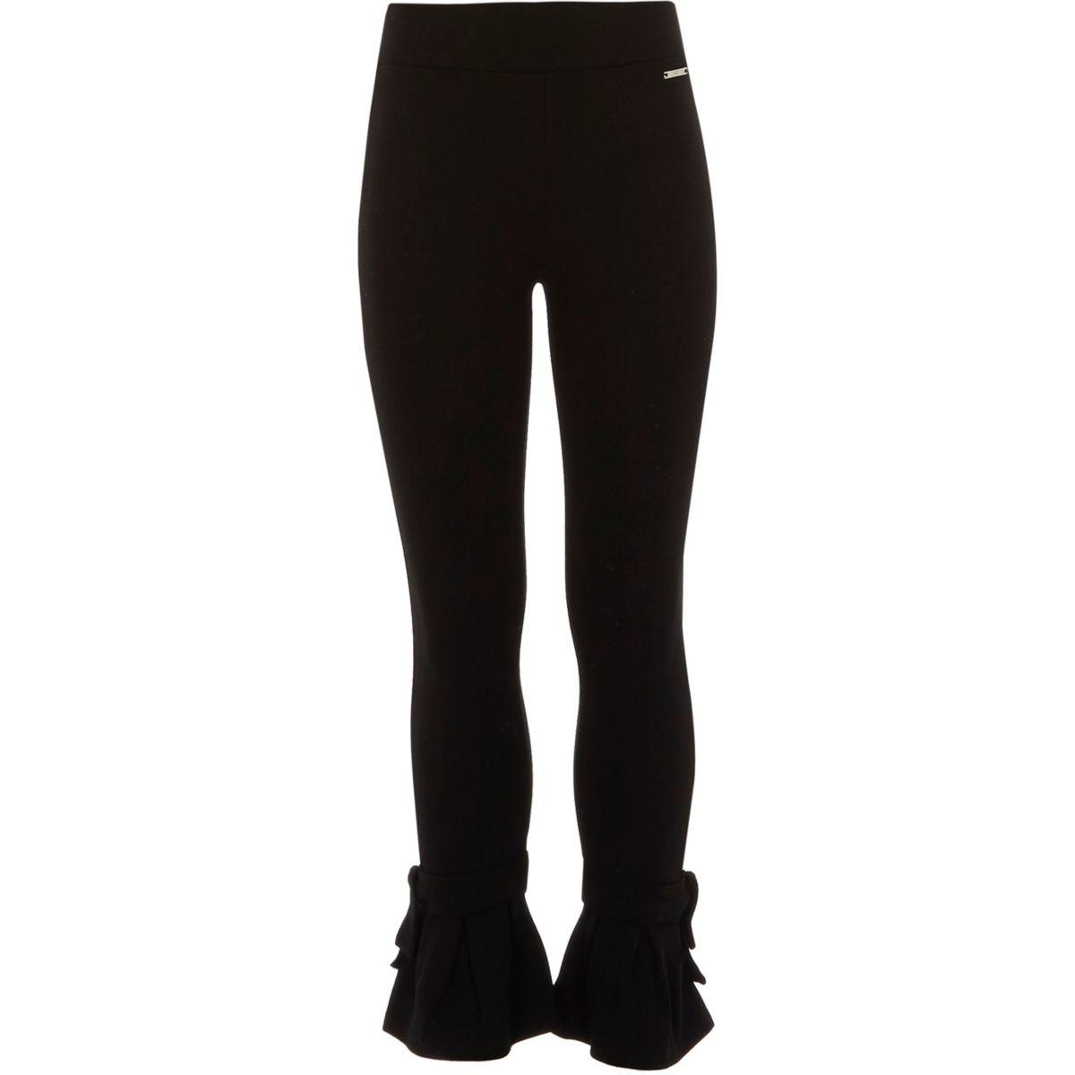 Girls black bow flare hem leggings