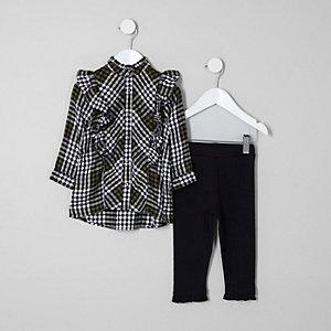 Mini - Outfit met kaki geruit overhemd met ruches voor meisjes