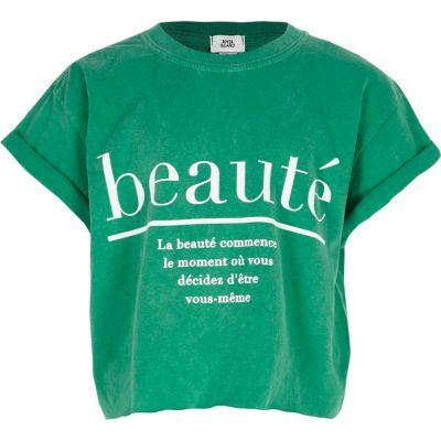 Groen cropped T-shirt met beaute'-print voor meisjes