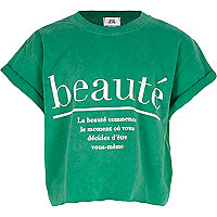 Girls green 'beaute' cropped T-shirt