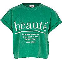 Girls green 'beaute' cropped T-shirt