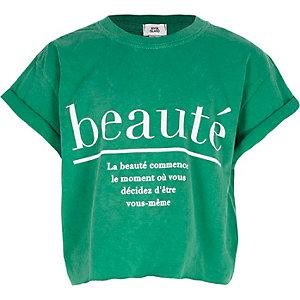 Groen cropped T-shirt met 'beaute'-print voor meisjes