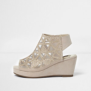 Girls light pink studded peep toe wedge shoes