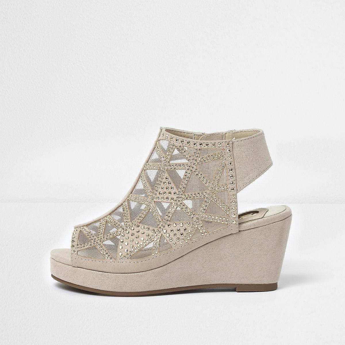 Girls light pink studded peep toe wedge shoes