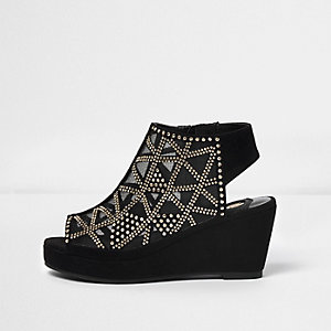 Girls black studded peep toe wedge heels