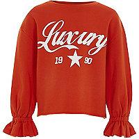 Girls orange 'luxury' balloon sleeve sweater