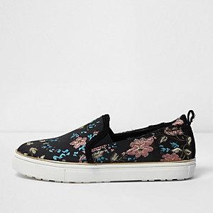 Girls black floral jacquard plimsolls
