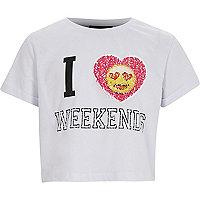 Girls 'I love weekends' emoji sequin T-shirt