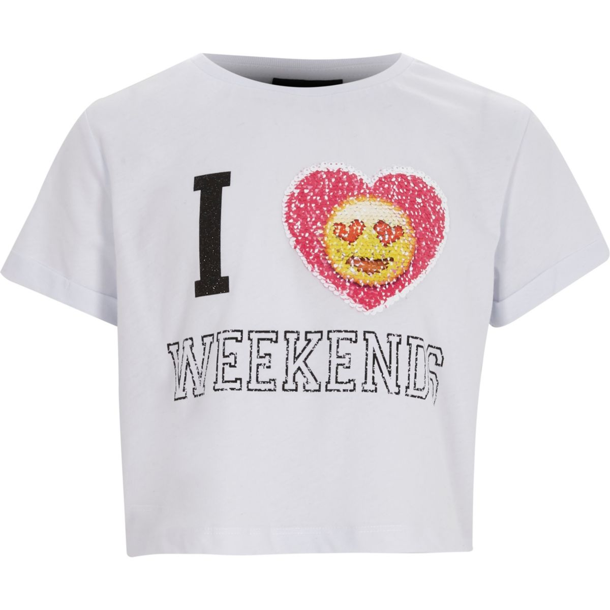 Girls 39 i love weekends 39 emoji sequin t shirt crop tops for Girls sequin t shirt