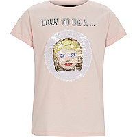 Girls pink 'born to be' sequin T-shirt
