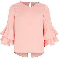 Girls pink ruffle sleeve top