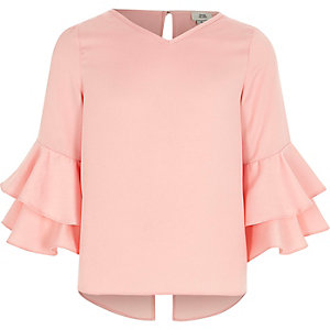 Girls pink ruffle sleeve top