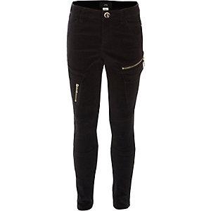 Pantalon en velours noir à poches cargo pour fille