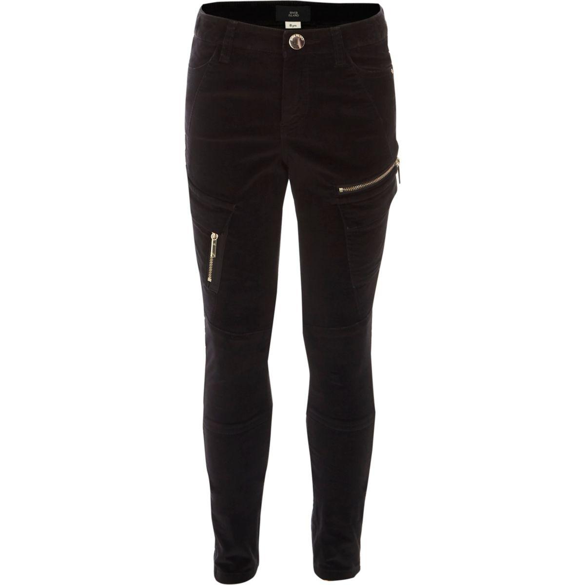 Girls black velvet cargo pocket trousers