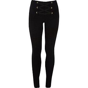 Zwarte legging met veterdetail voorop voor meisjes
