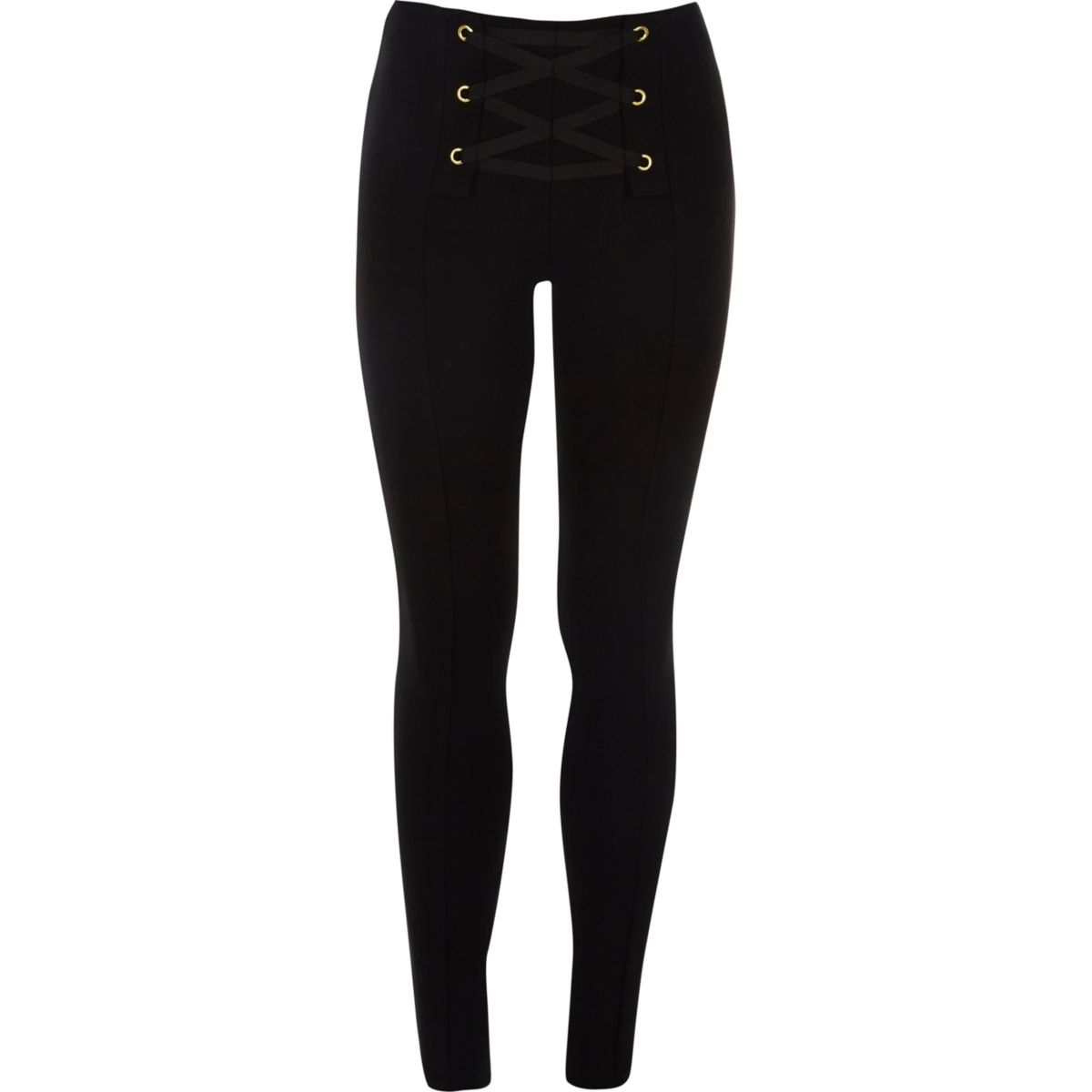 Girls black lace-up front leggings