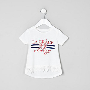 Mini girls white 'la grace' print T-shirt