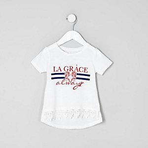 Mini girls white 'la grace' print T-shirt