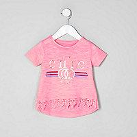 Mini girls pink 'chic' floral print T-shirt