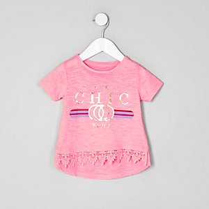 Mini girls pink 'chic' floral print T-shirt
