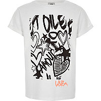 Girls white graffiti print T-shirt
