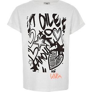 T-shirt blanc imprimé graffiti pour fille