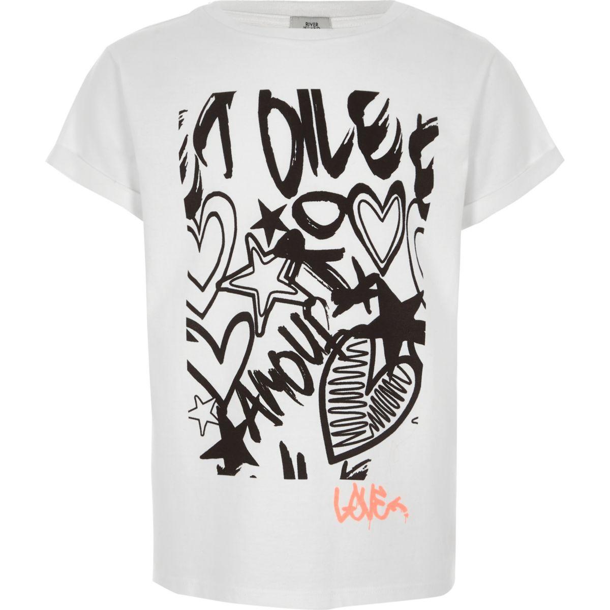 Girls white graffiti print T-shirt