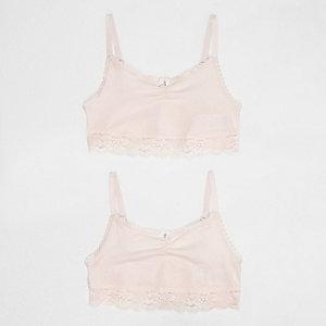 Girls light pink lace trim crop top multipack