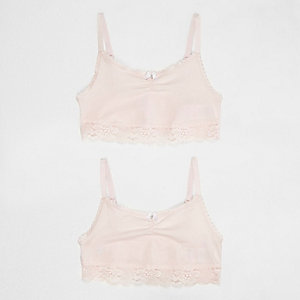 Lot de crop top rose clair à bordure en dentelle pour fille