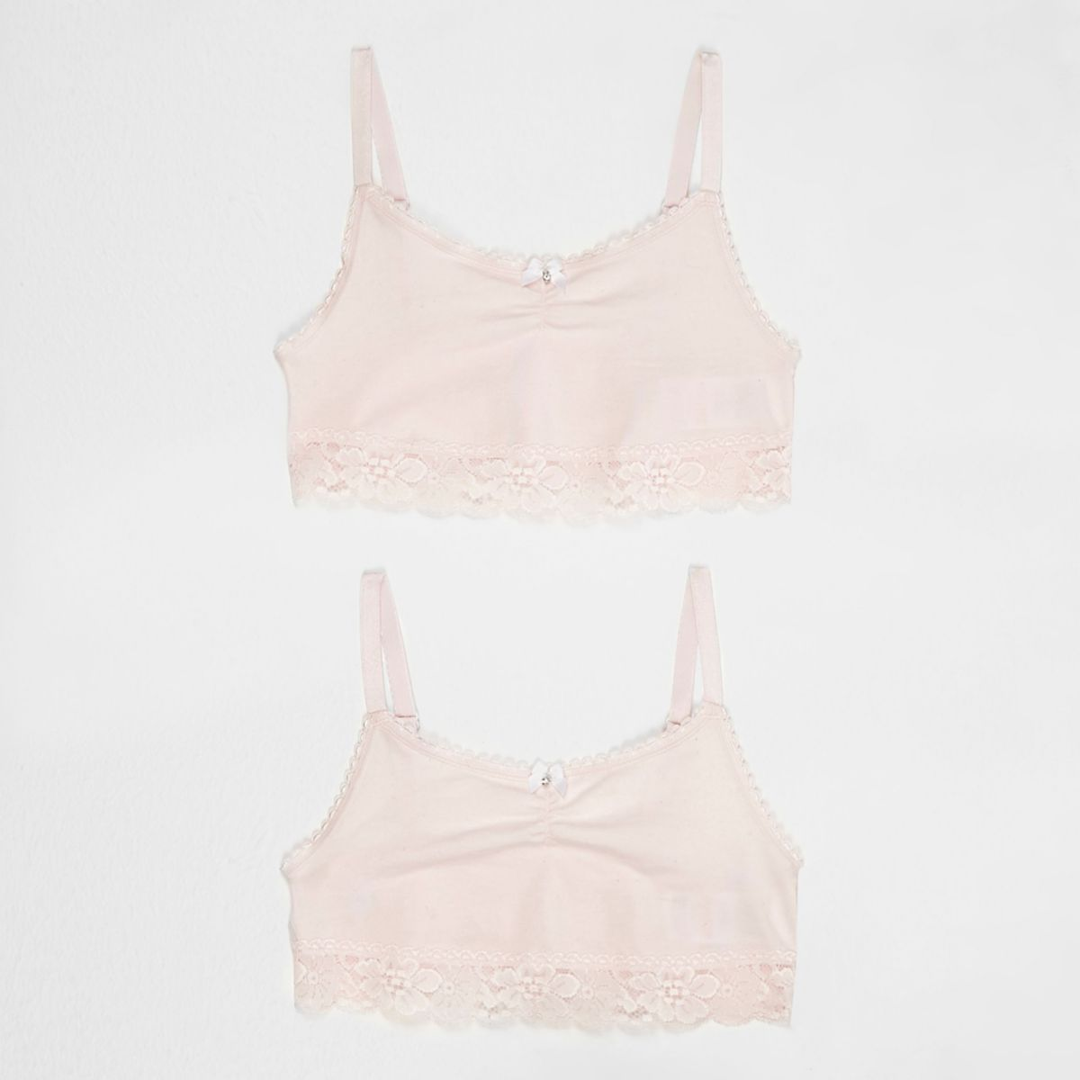 Girls light pink lace trim crop top multipack
