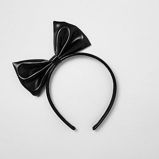 Girls black bow hair band