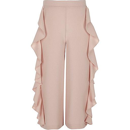 Girls pink frill side wide leg trousers