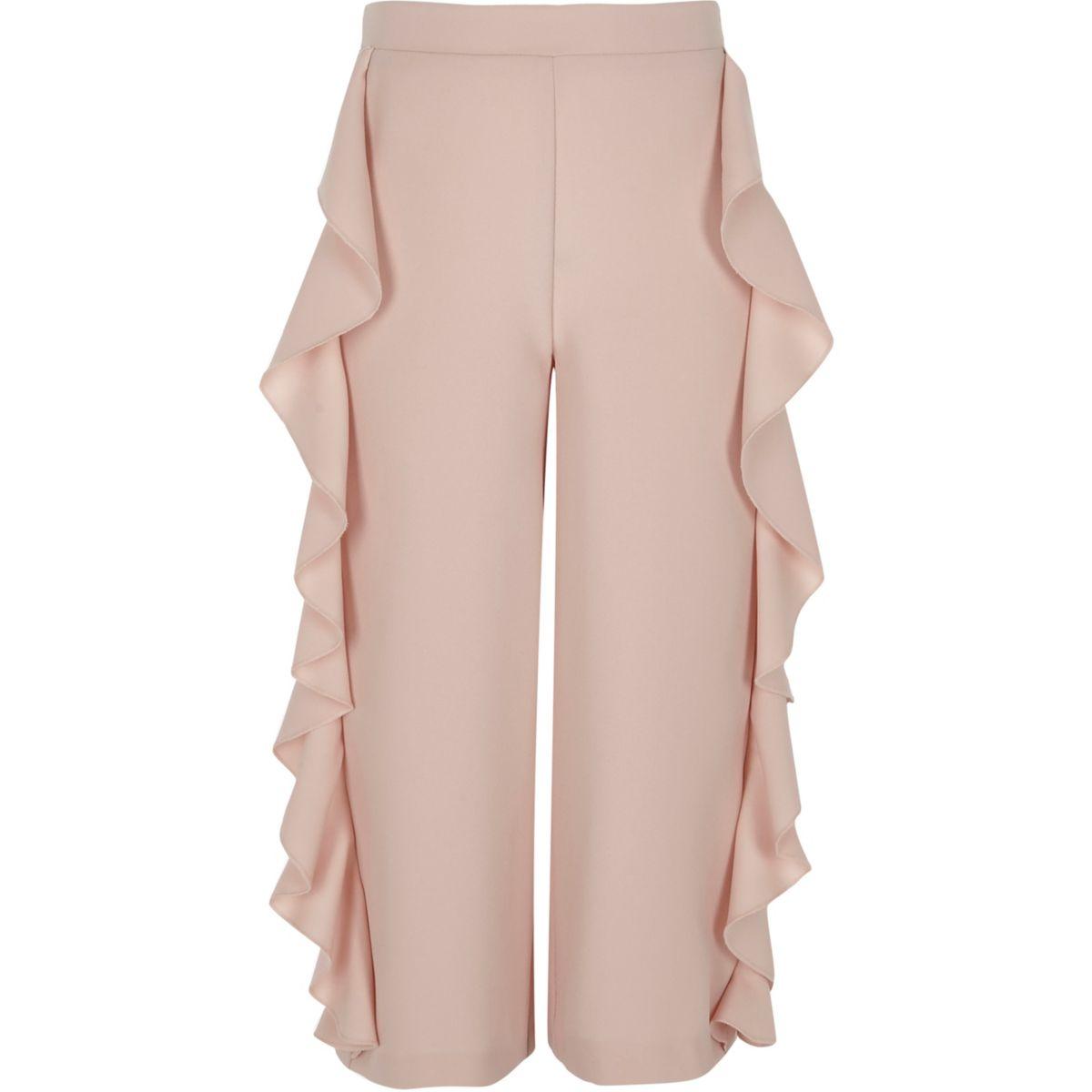 Pantalon large rose à volants sur les côtés pour fille