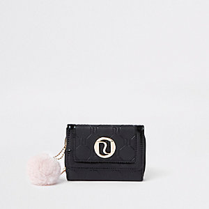 Girls black pom pom trifold purse