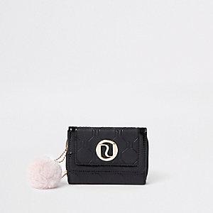 Porte-monnaie à trois volets noir à pompons pour fille