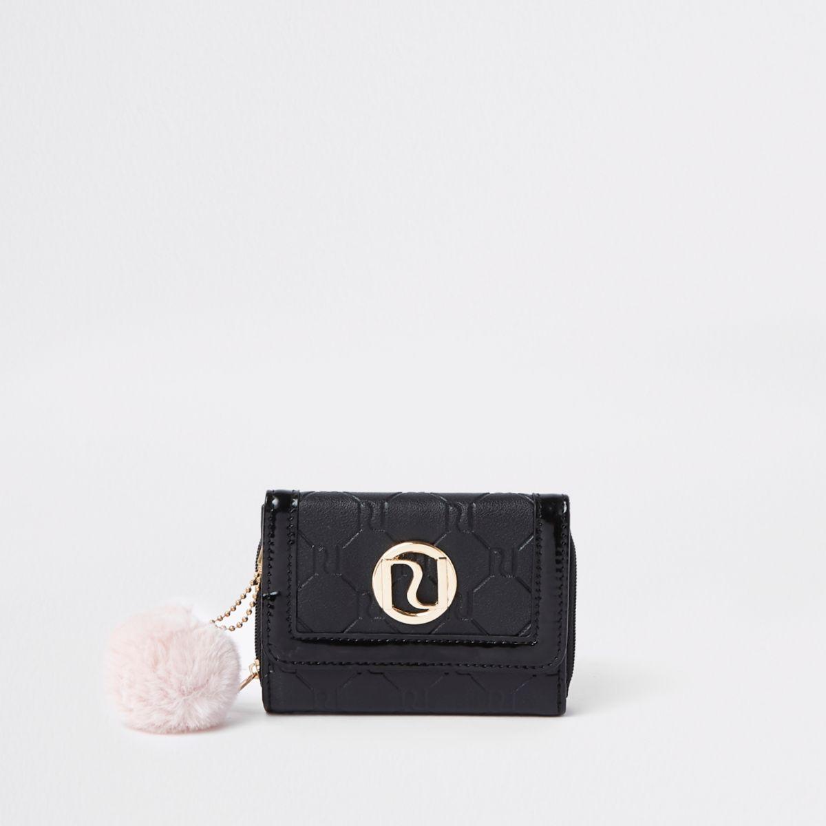 Schwarze Geldbörse mit Pompons