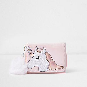 Girls pink glitter unicorn foldout purse