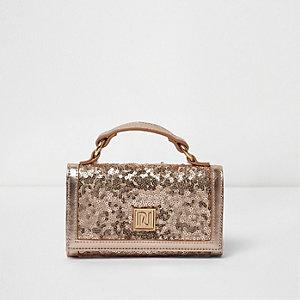 Girls pink metallic sequin trifold purse